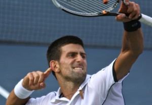 Novak Djokovic celebrates at the US Open